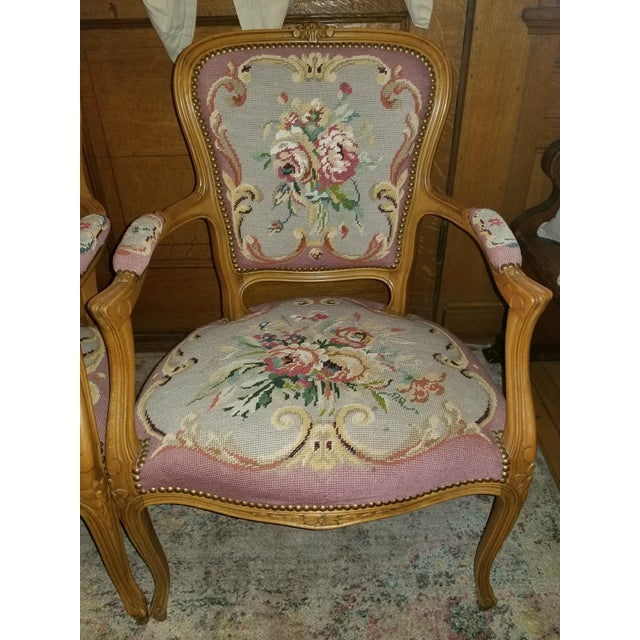 1960s Vintage Needlepoint French Chairs - a Pair For Sale - Image 9 of 11