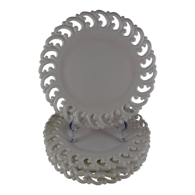 19th C. Eapg Lace Edge Milk Glass Dinner Plates, S/4 For Sale
