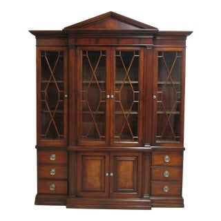 Ethan Allen Newport Mahogany China Cabinet Breakfront Display Hutch For Sale