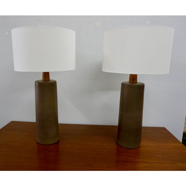 Wood Tall Olive Green Ceramic Table Lamps by Gordon Martz - a Pair For Sale - Image 7 of 8