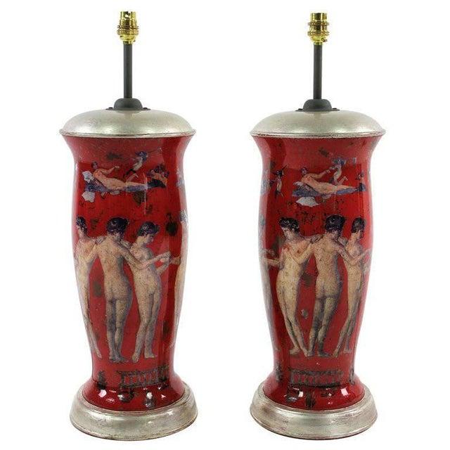 Mediterranean Pair of Declamania Lamps Depicting Pompeian Scenes For Sale - Image 3 of 3