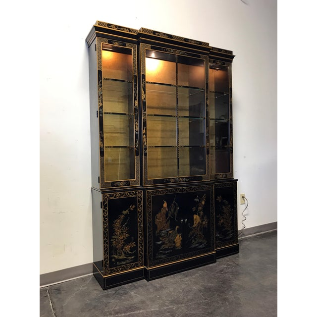Asian DREXEL HERITAGE Et Cetera Asian Chinoiserie Breakfront China Cabinet For Sale - Image 3 of 11