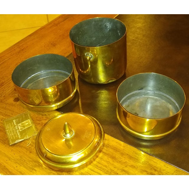 Chinese Chinese Brass Tiffin Meal Container For Sale - Image 3 of 6