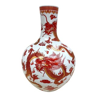 Chinese Orange and White Dragon Vase For Sale
