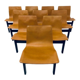 Angelo Mangiarotti Tre 3 Leather Dining Chairs - Set of 10 For Sale