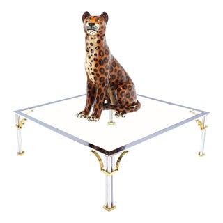Tall Porcelain Sculpture of a Cheetah, circa 1970s For Sale