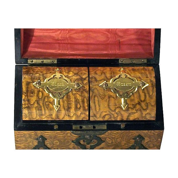 Gothic Antique Gothic Burl Wood & Brass Tea Caddy For Sale - Image 3 of 3