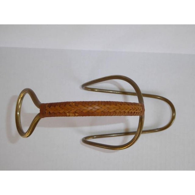 Carl Auböck Carl Auboch Modern and Elegant 1950s Brass and Wicker Wine Server. Austria For Sale - Image 4 of 11