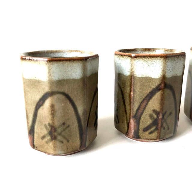 Contemporary Stoneware Sake Cups, set of 4 For Sale - Image 3 of 6