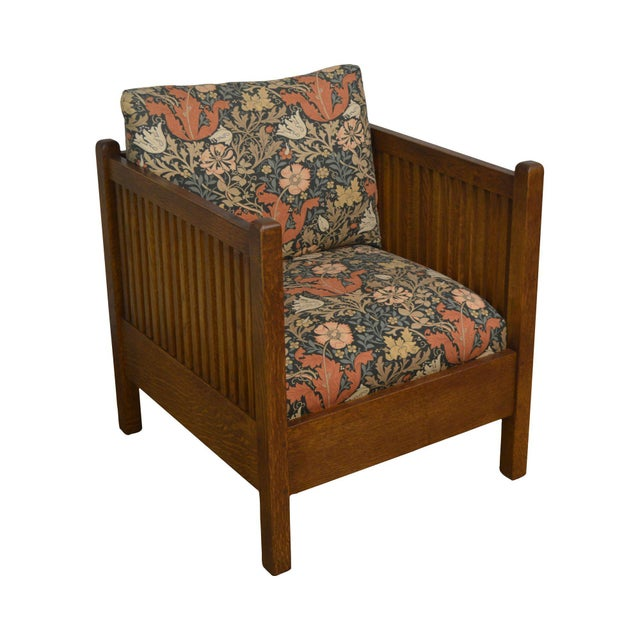 Stickley Mission Collection Oak Spindle Cube Chair For Sale - Image 13 of 13