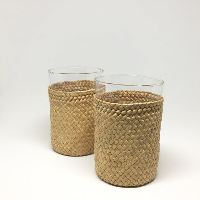 1980s Rattan-Cased Glasses - A Pair - Image 2 of 6