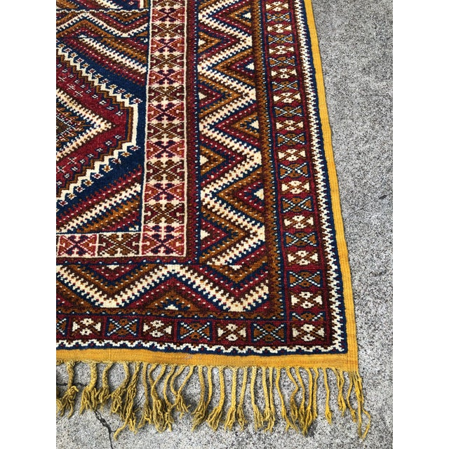Red 1950s Vintage Moroccan Hand Knotted Rug- 5′ × 8′6″ For Sale - Image 8 of 10