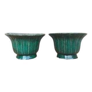 Green Glazed Terra Cotta Wall Planters - a Pair For Sale