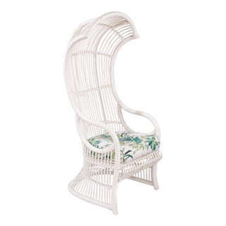 1950s Vintage White Rattan Hooded Chair For Sale
