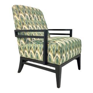 Thomasville Modern Green Herringbone Print Lounge Chair For Sale