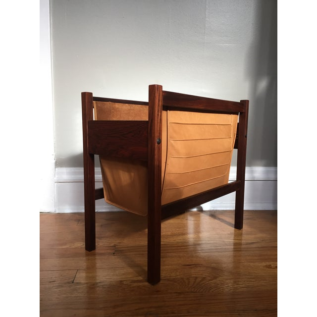 Danish Rosewood & Leather Magazine Rack - Image 2 of 11