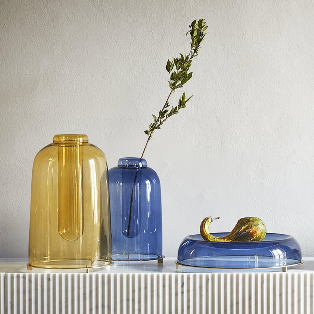 Contemporary Blue Blown Glass Vase the Short by Paola C for Design Italy For Sale - Image 3 of 6