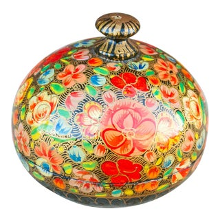 Floral Rounded Kashmiri Box For Sale