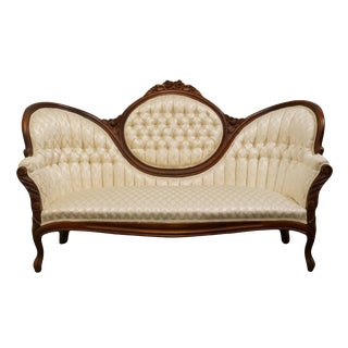 1950's Pellham, Shell, & Leckie Victorian Style Tufted Camel Back Parlor Sofa For Sale