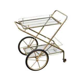 1950s Brass and Glass Bar Cart For Sale