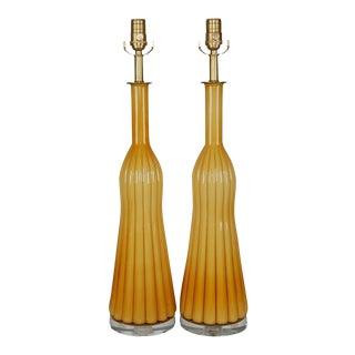 Vintage Murano Glass Pleated Table Lamps in Butterscotch