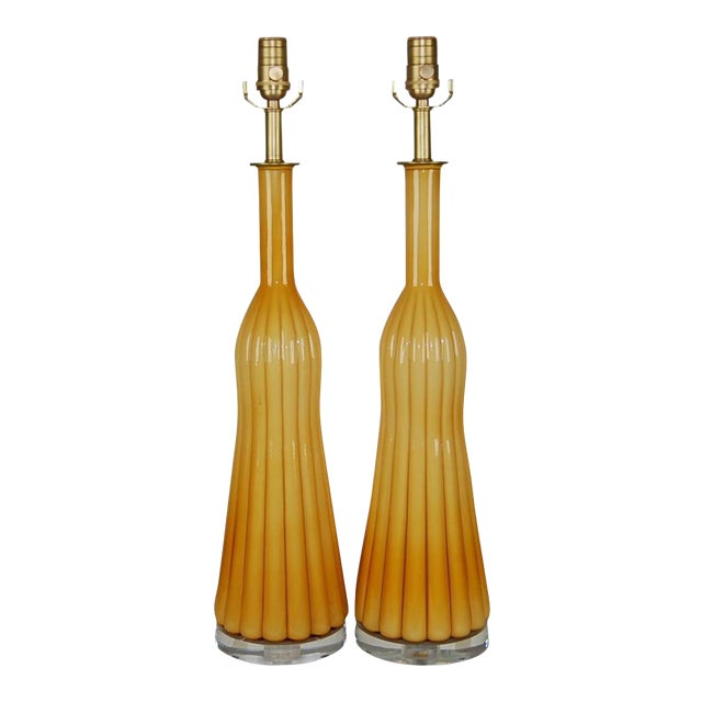 Vintage Murano Glass Pleated Table Lamps in Butterscotch For Sale