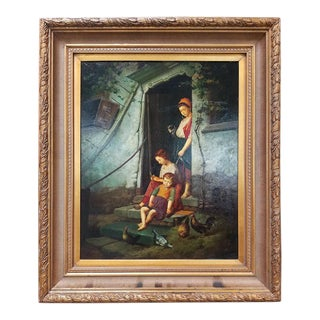 Old Master Style Oil on Canvas of Mother, Children and Poultry For Sale