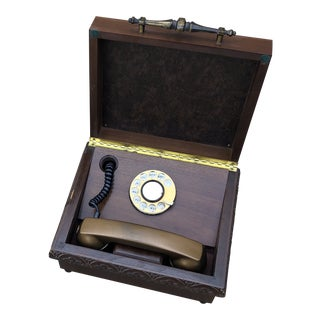 Antique French Phone in Wooden Box For Sale