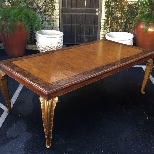 2010s Carved French Walnut Dining Table W Giltwood Palm Leaf Leg by Randy Esada Designs For Sale - Image 5 of 6