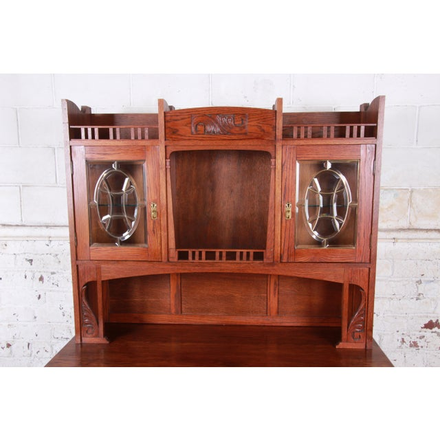 American Arts & Crafts Carved Oak Sideboard With Hutch For Sale - Image 4 of 13