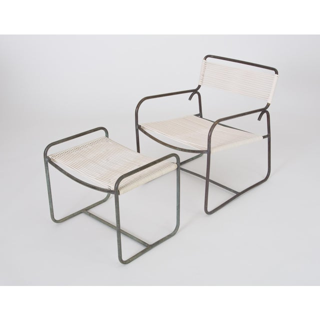 Mid-Century Modern Single Walter Lamb Patio Lounge Chair and Ottoman Set For Sale - Image 3 of 13