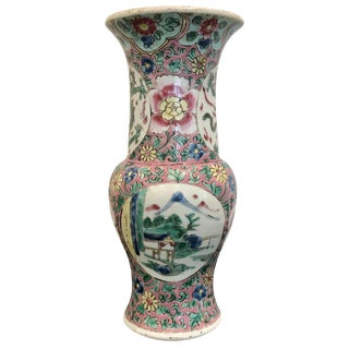 19th Century Famille Verte Chinese Export Vase For Sale