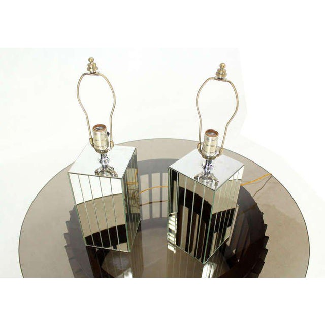Vintage Mid-Century Mirrored Table Lamps - A Pair For Sale - Image 4 of 8