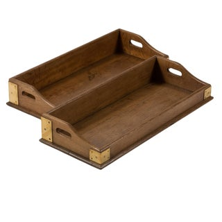 Late 19th Century Brassbound and Oak Tray With Handles For Sale