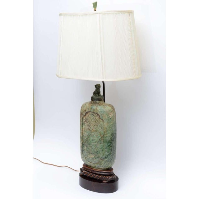 Large Carved Asian Soapstone Vessel Table Lamp 1940s For Sale - Image 11 of 11