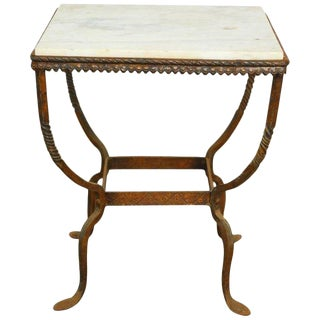 Diminutive French Iron and Marble Drinks Table