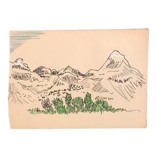 Mid-Century Landscape Watercolor Painting For Sale