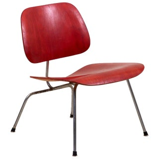 Early Lcm Chair in Rare Aniline Red by Charles Eames for Herman Miller For Sale