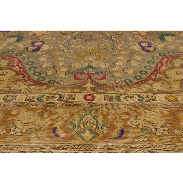 Vintage Distressed Color Reform Sylvester Gray/Brown Wool Rug - 9'9 X 12'10 For Sale - Image 5 of 8