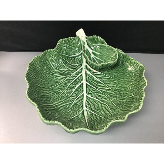 A classic collectible green Majolica cabbage serving platter with an attached serving bowl. Large sized for parties....