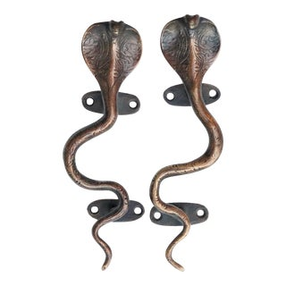Dark Brass Cobra Door Handles - A Pair For Sale