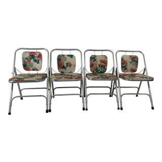 Vintage Mid Century Modern Aluminum Folding Chairs - Set of 4 For Sale
