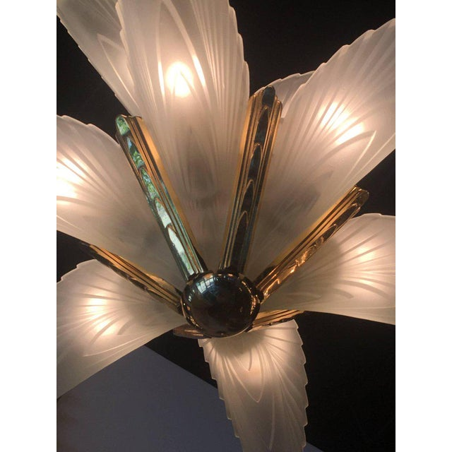 Italian Murano Glass & Brass Palm Tree Frond Leaf Chandelier - Image 4 of 12