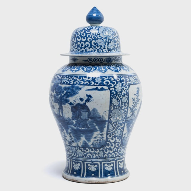 Asian Blue and White Ginger Jar With Landscape Portraits For Sale - Image 3 of 7