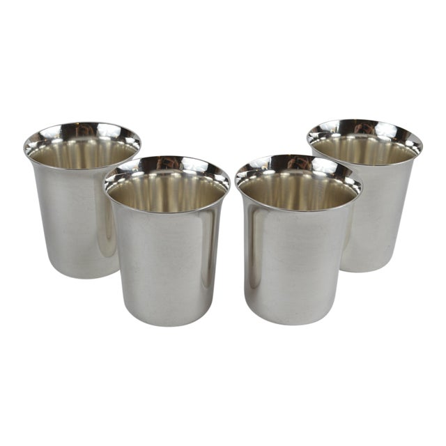 20th Century Sterling Silver Shot Glasses - Set of 4 For Sale