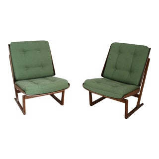Grete Jalk Attributed Pair of Midcentury Armchairs Green in Mahogany, From 1950 For Sale