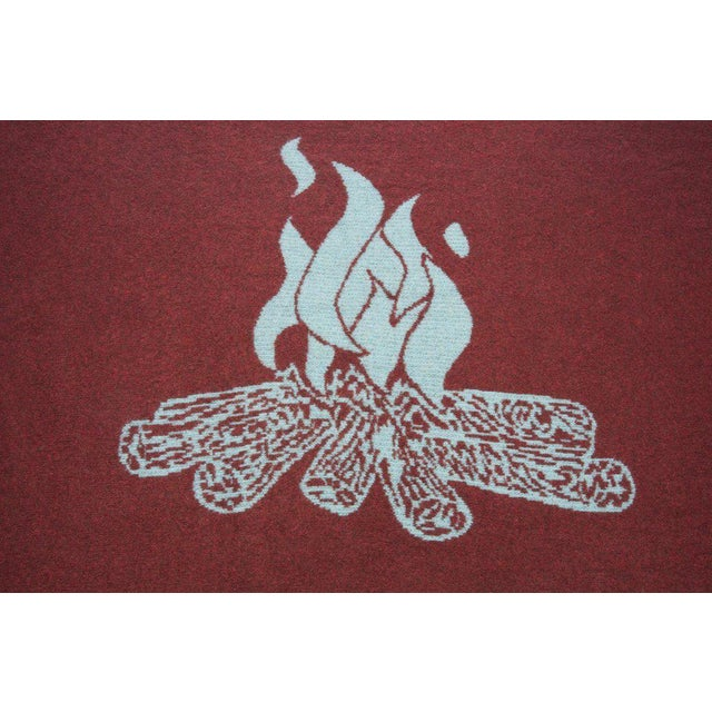 Cabin Collection Blanket in Turquoise & Brick Red For Sale - Image 4 of 5