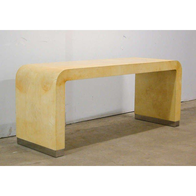 Karl Springer Style Lacquered Parchment and Stainless Steel Console Tables - Image 2 of 10