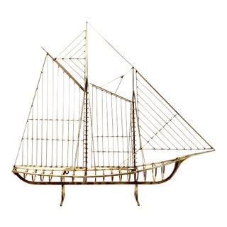 Mid Century Modern Vintage Curtis Jere Brass Skeleton Sailboat Sculpture For Sale
