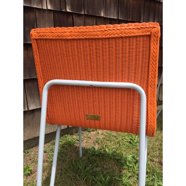 Orange Wicker & Metal Dining Chairs - Set of 8 - Image 3 of 7